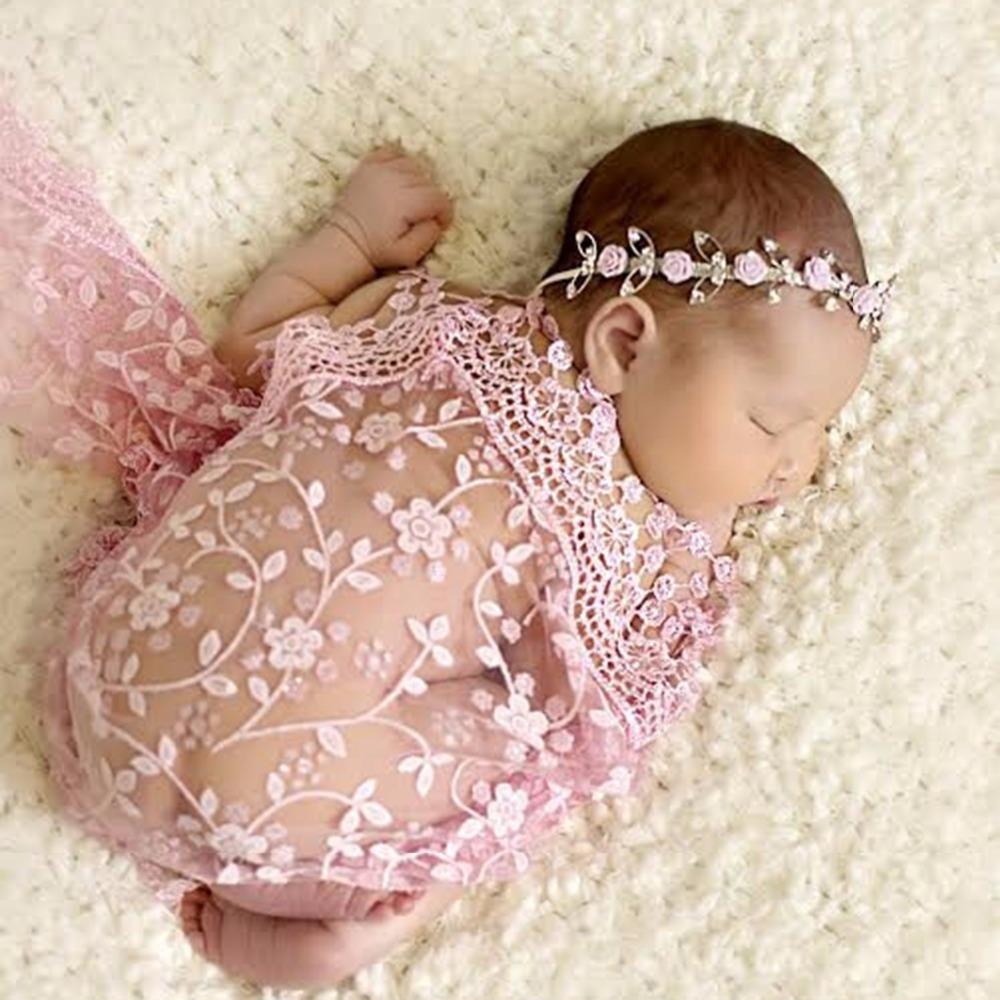 Baby Wrap Pucktuch rosa spitze Fotoshooting Newborn Neugeborenen ...